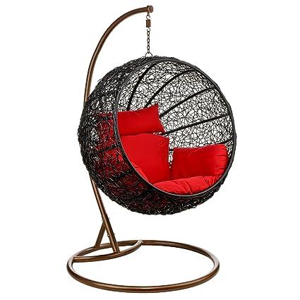 Shri Sai Outdoor Furniture Rattan & Wicker Hanging Swing (Brown)