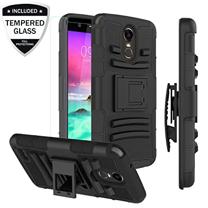 buy popular 2e94e f47aa LG Stylo 3 Case,LG Stylo 3 Plus/Stylus 3/LG LS777 Case w/Tempered Glass  Screen Protector, Heavy Duty Tough Rugged Shockproof Protective Case  w/Swivel ...