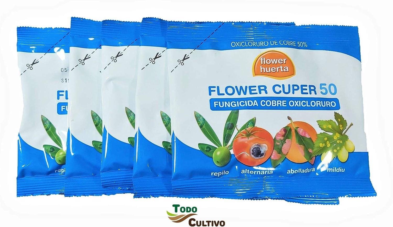 Todo Cultivo Fungicida Cuper 50 oxicloruro de Cobre contra repilo abolladura minilia cribado Moteado o bacteriosis. Tratamiento para 100 litros.(5sobres)