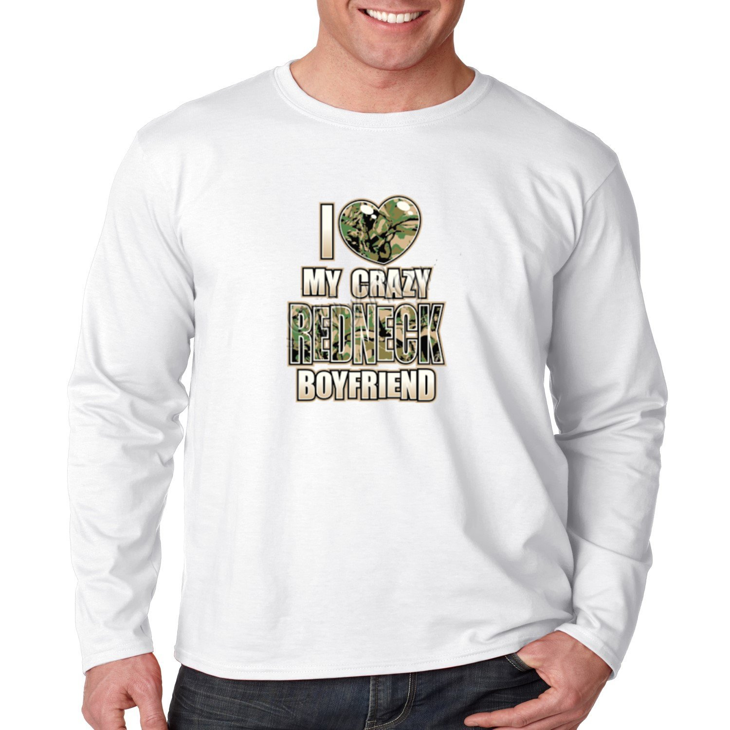 Juiceclouds | Long Sleeve Shirt I Love My Crazy Redneck Boyfriend (White, 3XL) by Juiceclouds (Image #1)