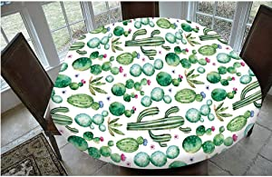 "Elastic Edged Polyester Fitted Tablecloth,Mexican Texas Cactus Plants Spikes Cartoon Like Art Print Table Cover,Fits Oval/Olbong Tables 48x68"",for Holiday Home Christmas Party Picnic White Light Pink"