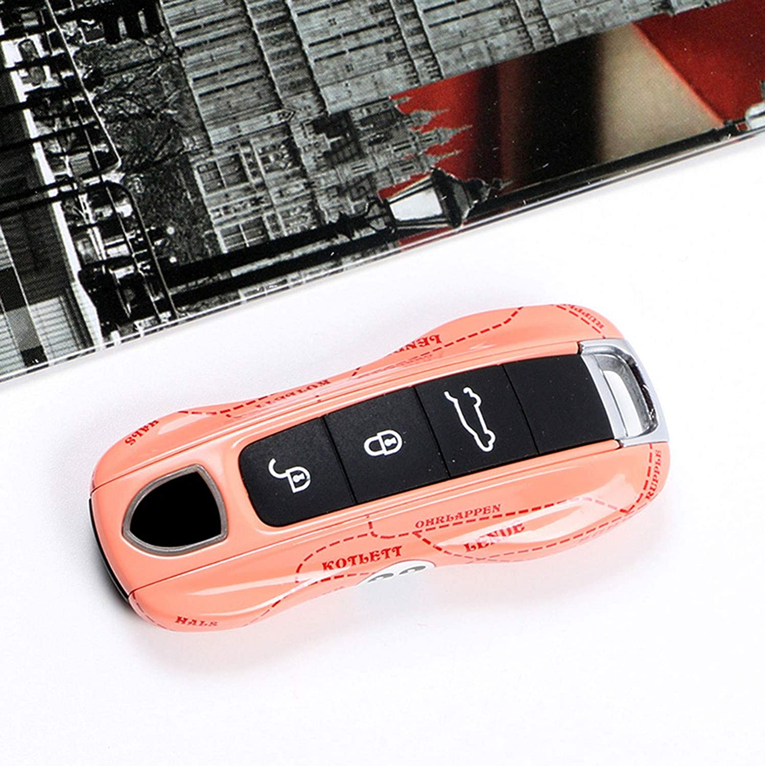 AType White Kwaks Car Key Case Compatible for Porsche Panamera 971 Cayenne 9YA Macan 911 718 Boxster White Key Holder Car Key Cover