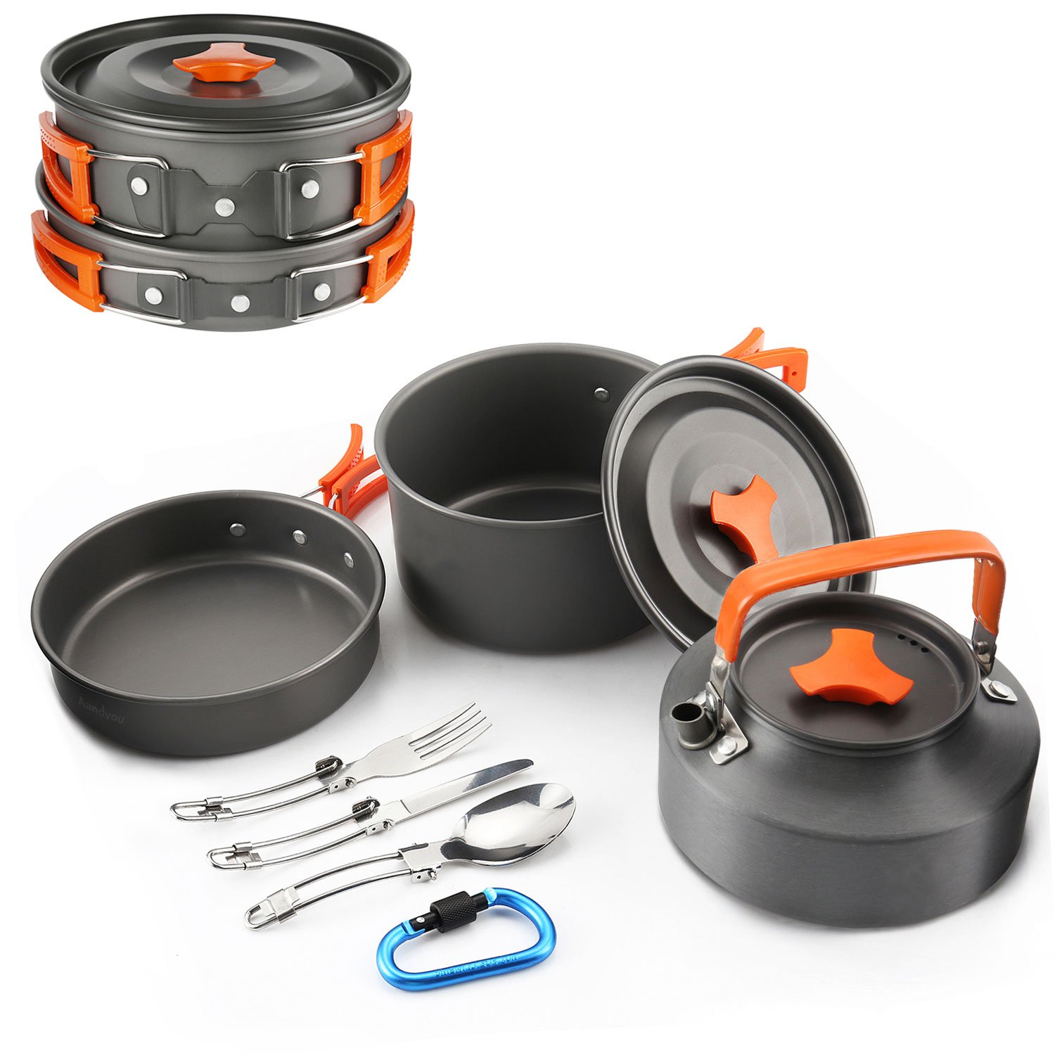 FLYTON Camping Cookware Outdoor Cooking Mess Kit Portable Lightweight Pots Pans Water Kettle Set for Backpacking Hiking Trekking Picnic Fishing Mountaineering