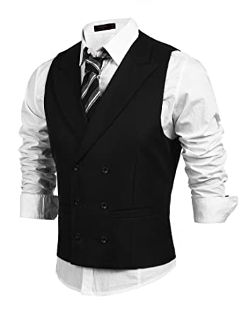 Coofandy Men's Double Breasted Slim fit Suit Vest Dress Waistcoat ...