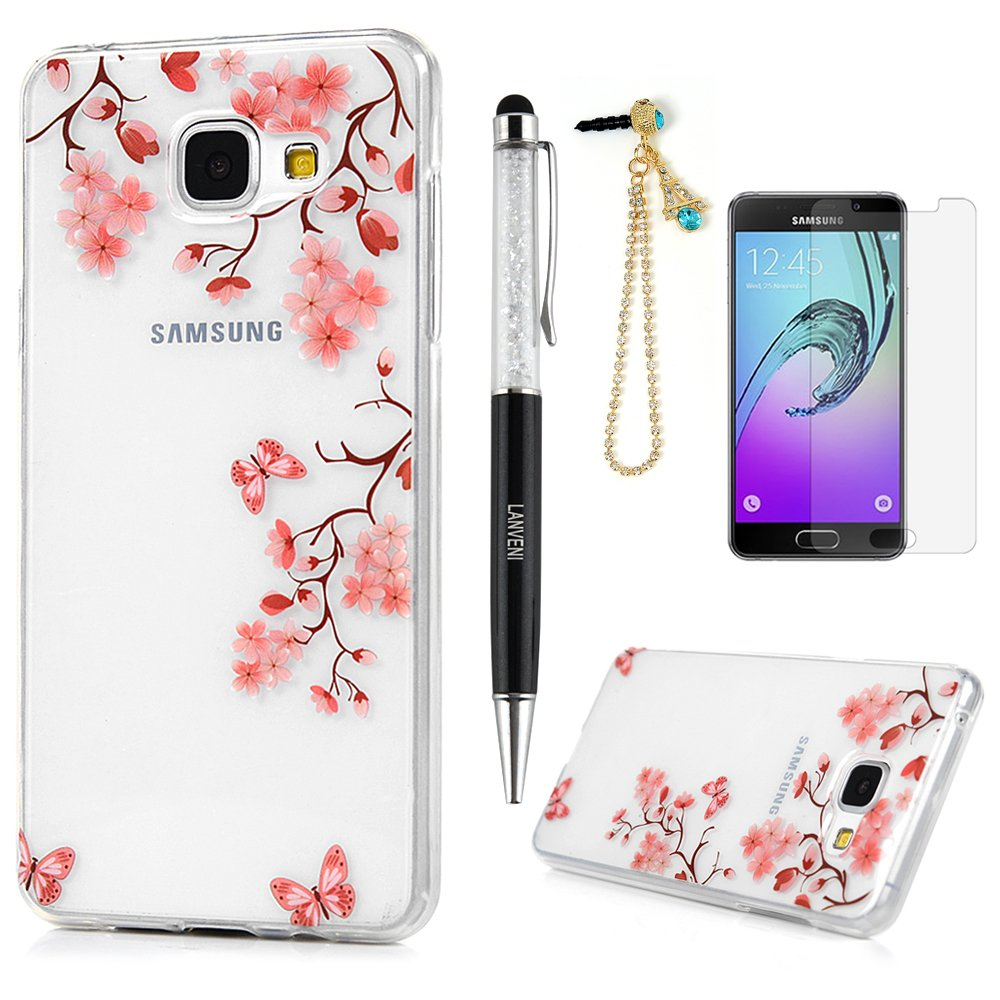 Cam/élia Coque pour A3 2016 4 Sets Lanveni Housse Etui de Protection en TPU Souple Silicone Slim Antichoc Ultra-Fine Thin Mince Premium L/éger Flexible Dessin Colore Cover pour Samsung Galaxy A3 2016