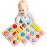 Lewo Wooden Geometric Chunky Puzzles Sorting Game Early Development Educational Toys Pack of 3