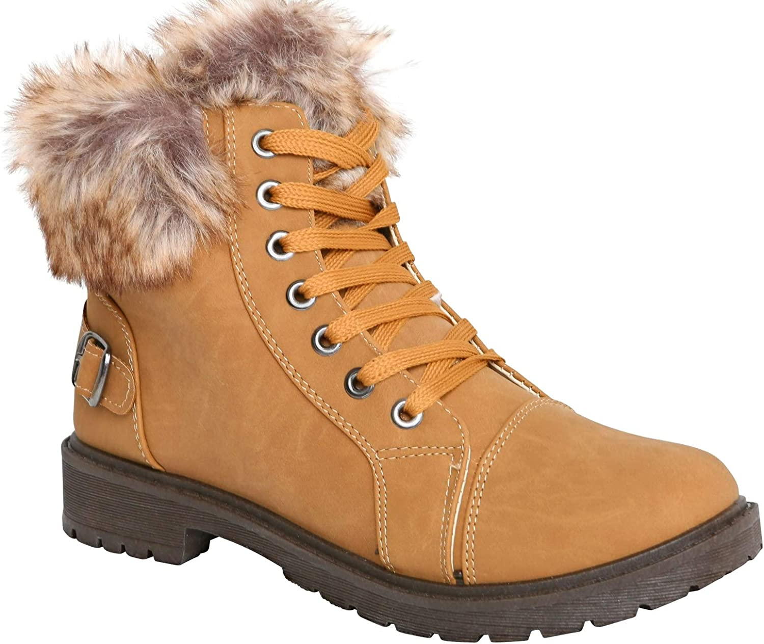 LADIES CAMEL LACE-UP DESERT WARM FLEECE LINED COMFY ANKLE BOOTS SHOES SIZES 3-8