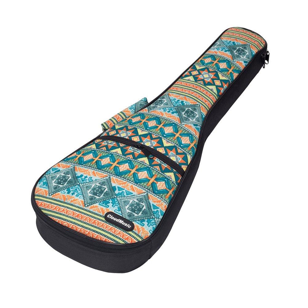 CLOUDMUSIC Hawaiian Ukulele Case Bohemian Green Ethnic Ukulele Backpack (Soprano)