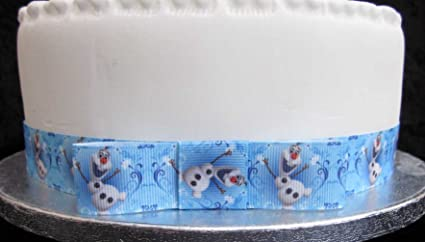 Brilliant 1 X Metre 25Mm Olaf Frozen Ribbon With Bow Ideal For Going Personalised Birthday Cards Sponlily Jamesorg