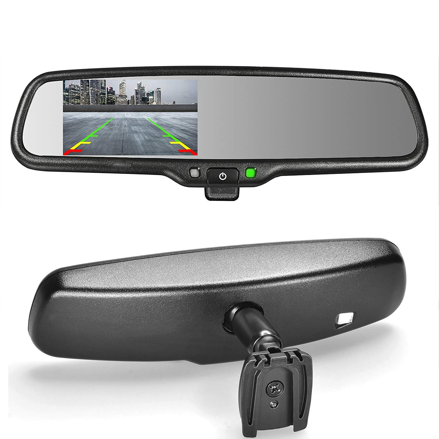 Master Tailgaters MR-43-E2M OEM Rear View Mirror with 4.3' Auto Adjusting Brightness LCD Plus Manual Dimming-Universal Fit MDDNR