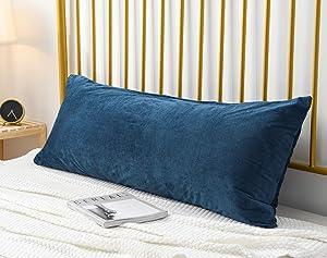 Ultra Soft Velvet Body Pillow Cover/Case Pillowcase with Hidden Zipper, Zippered Body Pillow Case (20 x 48 Inch, Royal Blue, 1-Piece)