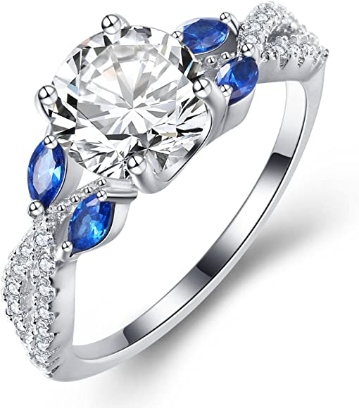 9a742e830 Vibrille Luxe Willow Sterling Silver Diamond CZ Cubic Zirconia Engagement  Ring for Women Size 9