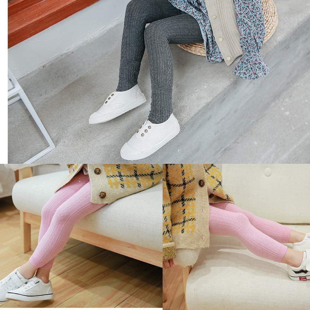 Toddler 4 Leggings Pants and 4 Pairs Socks Baby Girls Footless Knits Tights Stockings
