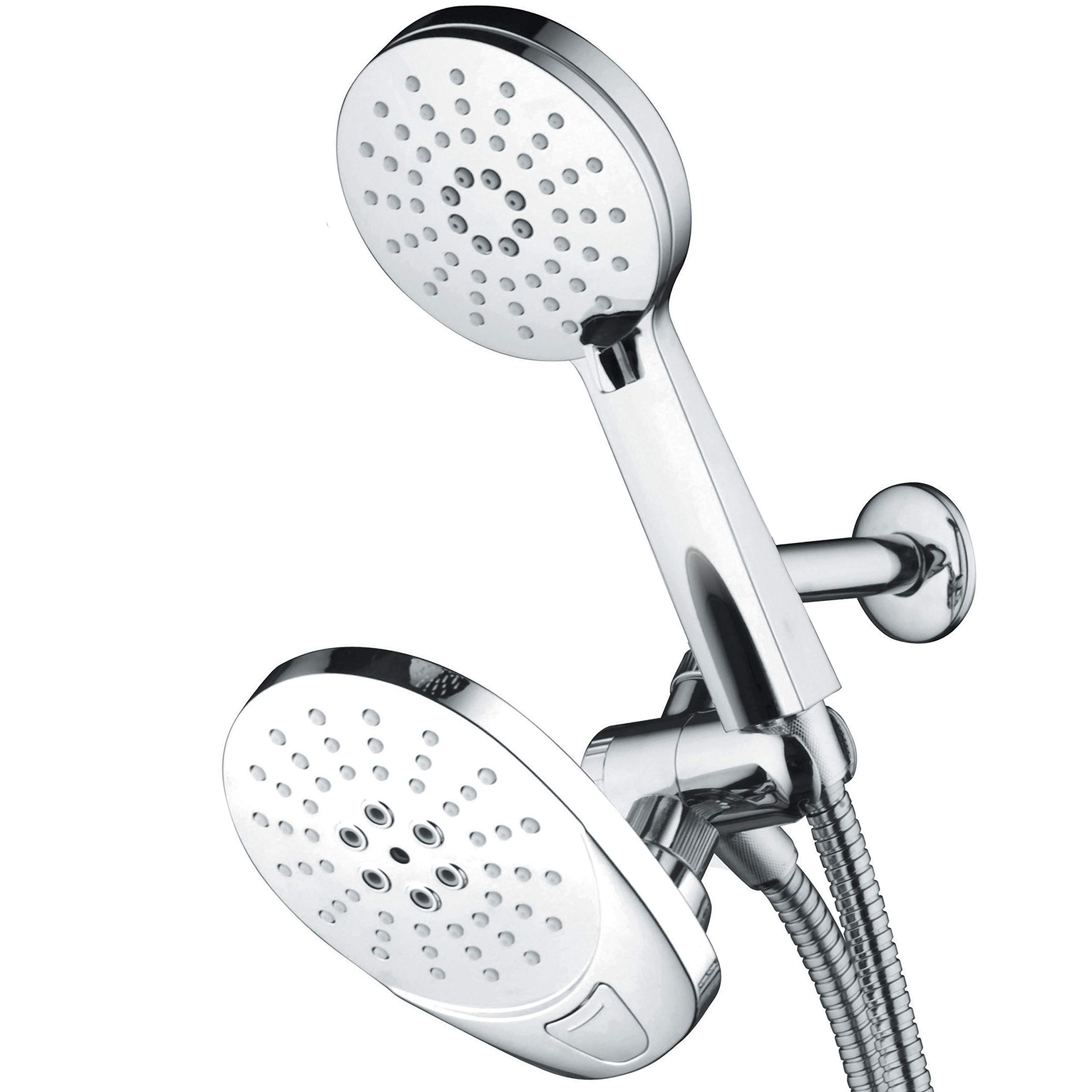 AirJet-600 Hybrid 3-in-1 High Pressure Luxury Rainfall Shower Combo with High-Velocity Flow Accelerator(TM) for More Power with Less Water! Height-Extend Design / Low-Reach Push-Button Flow Control