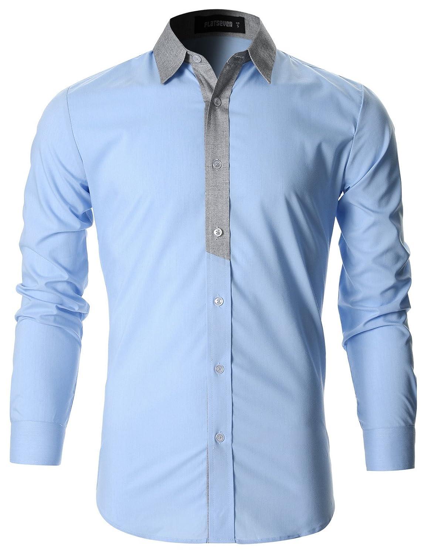 7fbf14832 FLATSEVEN Mens Stylish Casual Shirt Slim Cut at Amazon Men's Clothing store: