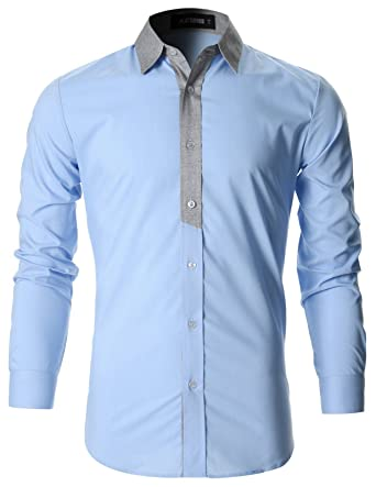 8260285b4a9b31 FLATSEVEN Mens Stylish Contrast Collar Casual Shirt (SH1011) Light Blue, S