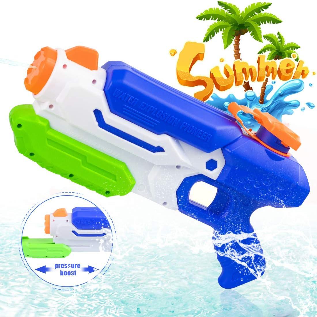 O-Kinee Pistola de Agua Juguete Super Gun Water Juguetes de Verano para Playa Piscina al Aire Acuáticos Partido Niños y Adultos,Fiestas de Verano al Aire Libre (Azul)