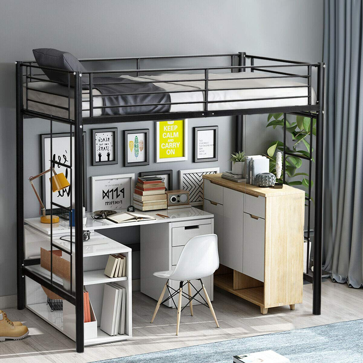 Amazon.com: Twin Loft Bed Metal Bunk Ladder Beds Boys Girls ...