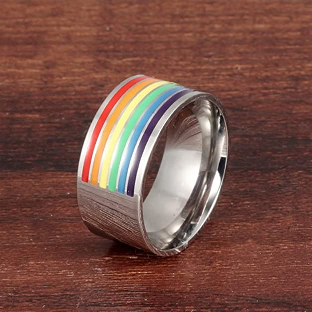 Bishilin 316L Stainless Steel 10MM Rainbow Wedding Band Ring for Unisex Lesbian LGBT Gay Lara Size 10
