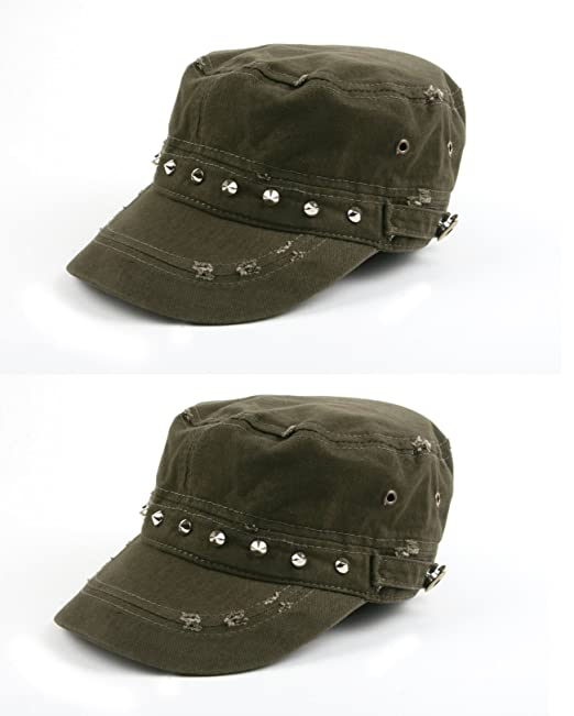 b4ca0cabbfb Pop Fashionwear 100% cotton Army-Inspired Cadet Hat 172HC (2 Pcs Army Green