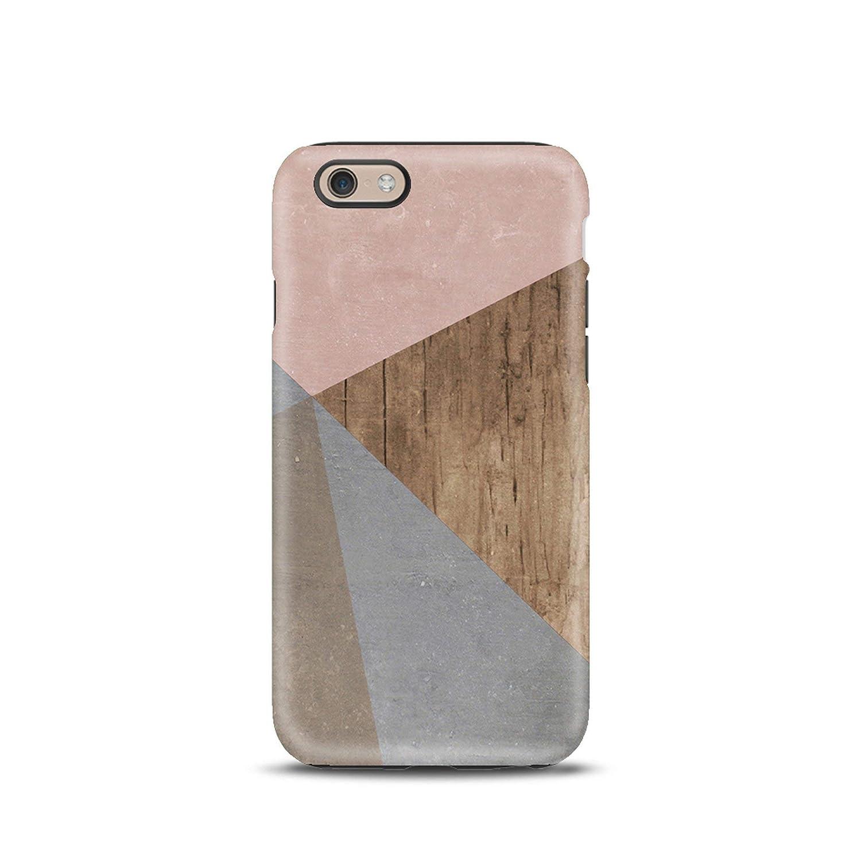 Geometrico Legno cover case custodia per iPhone 5, 5s, 6, 6s, 7, 7 plus, 8, 8 plus, X, XS, per Galaxy S6, S7, S8
