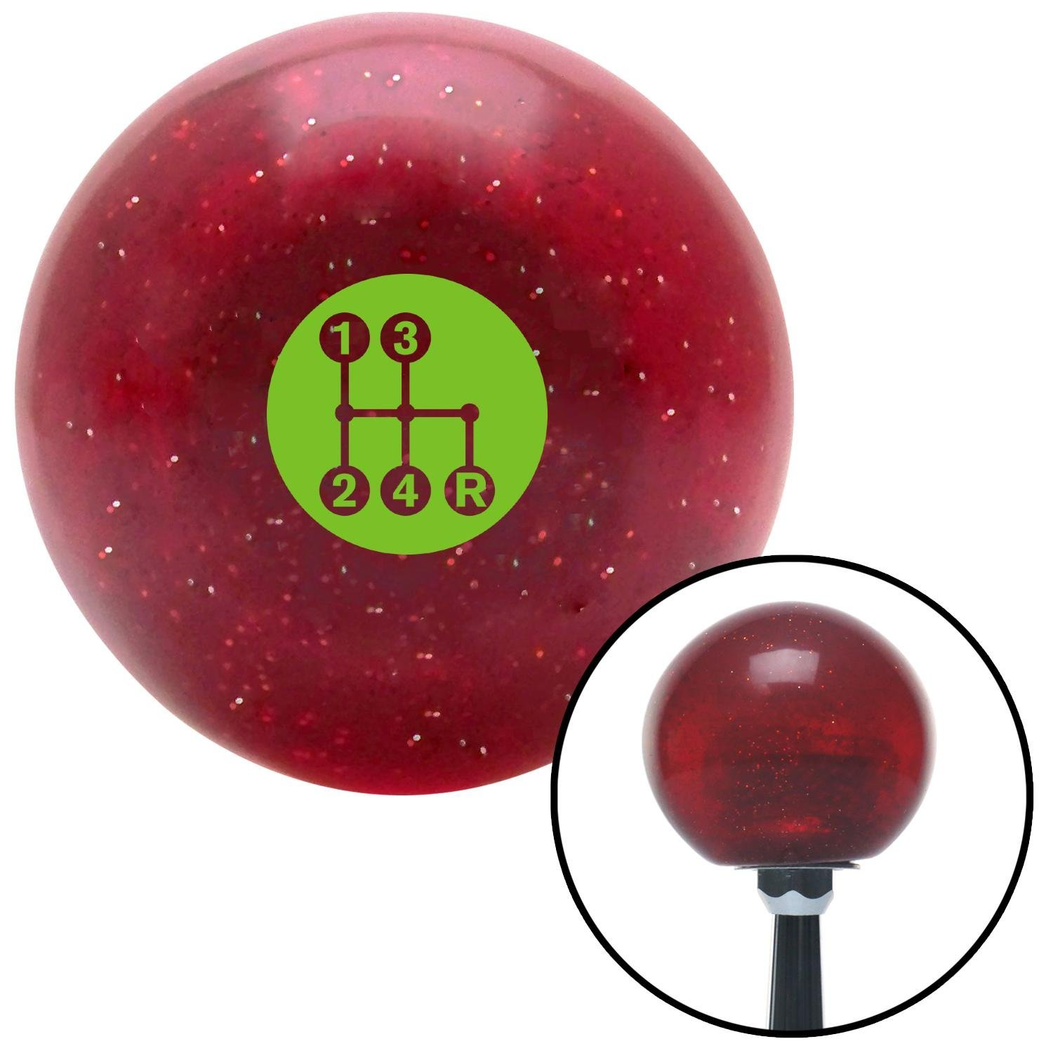 American Shifter 282780 Shift Knob Green 4 Speed Shift Pattern - Dots 6 Red Metal Flake with M16 x 1.5 Insert