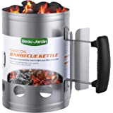 """BEAU JARDIN Charcoal Chimney Starter 11""""X7"""" Grill Barbecue BBQ Galvanized Steel Chimney Lighter Basket Outdoor Cooking…"""