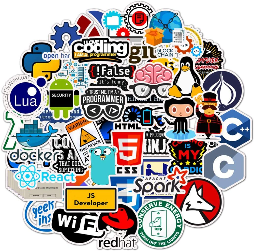 Programmer's Software Programming Sticker 50Pcs Waterproof, Removable,Cute,Beautiful,Stylish Teen Stickers, Suitable for Boys and Girls in Water Bottles, laptops, Phones, Suitcase Durable Vinyl