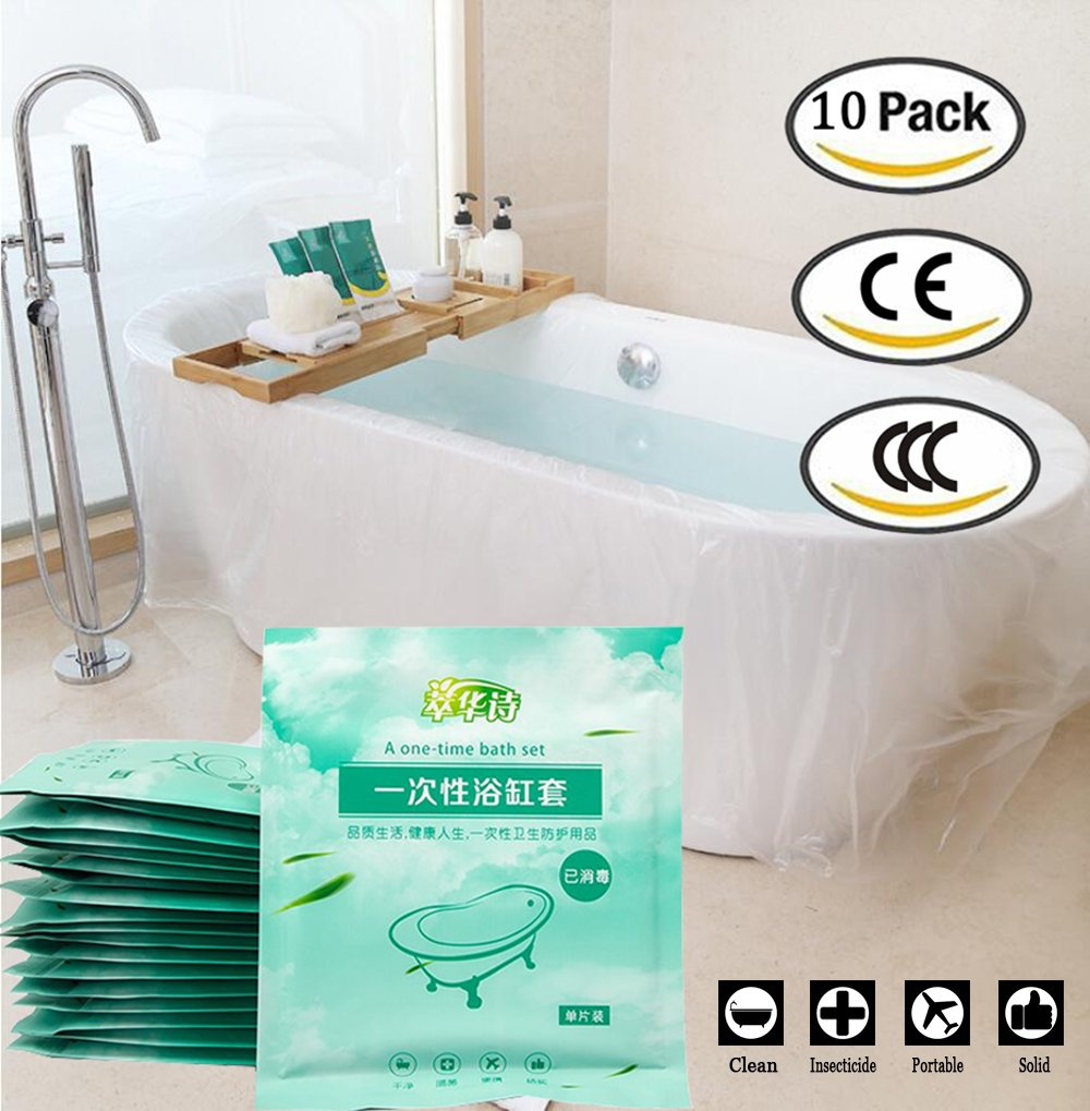 DELOVE 10 PCS Ultra Large Disposable Film Bathtub Lining Bags 102''X47'' - Portable Disposable Bath Tubs For Traveling/Hotel Bath Tubs/Household/Salon/SPA (Individual Package)