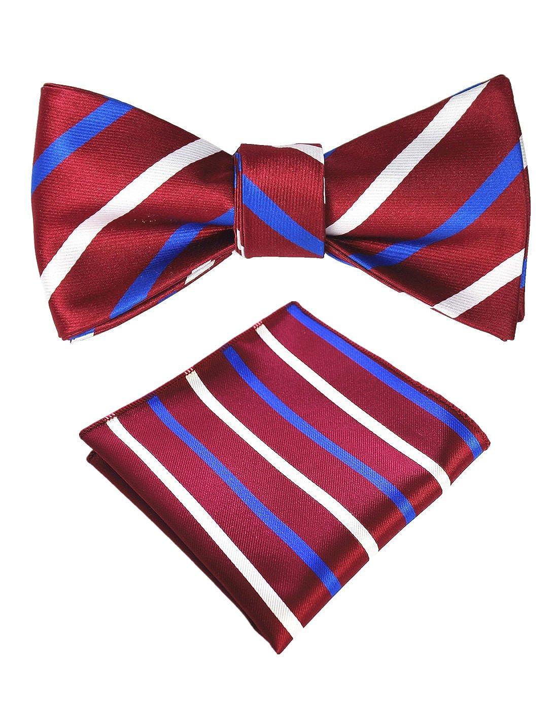 15bde9ae9d01 JEMYGINS Original Burgundy Stripe Mens Bowtie Self Bow Tie & Pocket Square  Set (01#3): Amazon.ca: Luggage & Bags