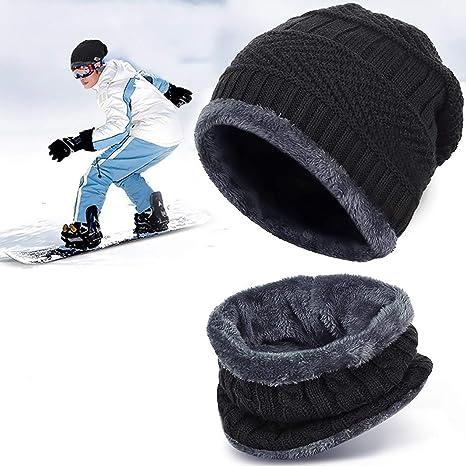 57a90ca4132 Bonnet Hiver Chapeau Beanie Écharpe Tour de Cou Doublure Polaire Tricot  pour Homme Femme Unisexe Chaude