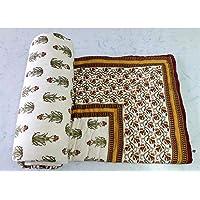 Marusthali Indian Printed Cotton Handmade Quilts Bedding Jaipuri Razai (Sanganeri Quilt, Rajai) with Cotton Filling