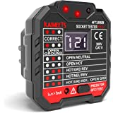 KAIWEETS Outlet Tester 48-250V, Receptacle Tester with Voltage Display, GFCI Tester CAT II 300V, Includes 7 Visual Indication