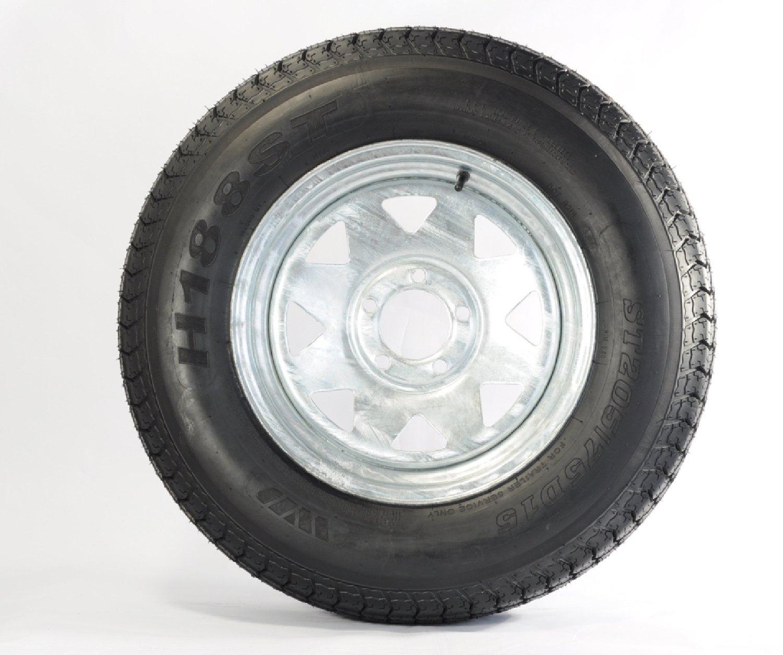 Load Star ST205/75D14 Loadstar Trailer Tire LRC on 5 Bolt Galvanized Spoke Wheel Kenda