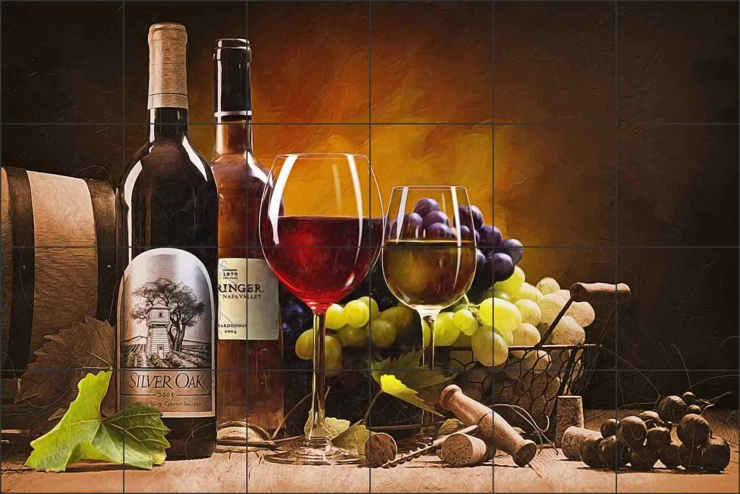 Original Photography on Porcelain Tile 6X6 Still Life with Wine and Cheese