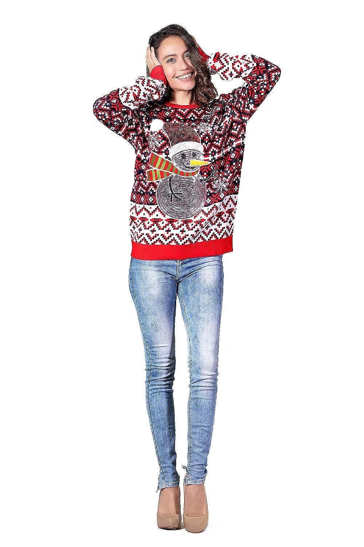 Festive Unisexe Festive Xmas Pull /à Manches Longues pour la f/ête U LOOK UGLY TODAY Chandail de No/ël laide Pull dr/ôle Chunky Fair Isle avec Flocon de Neige Santa Reindeer