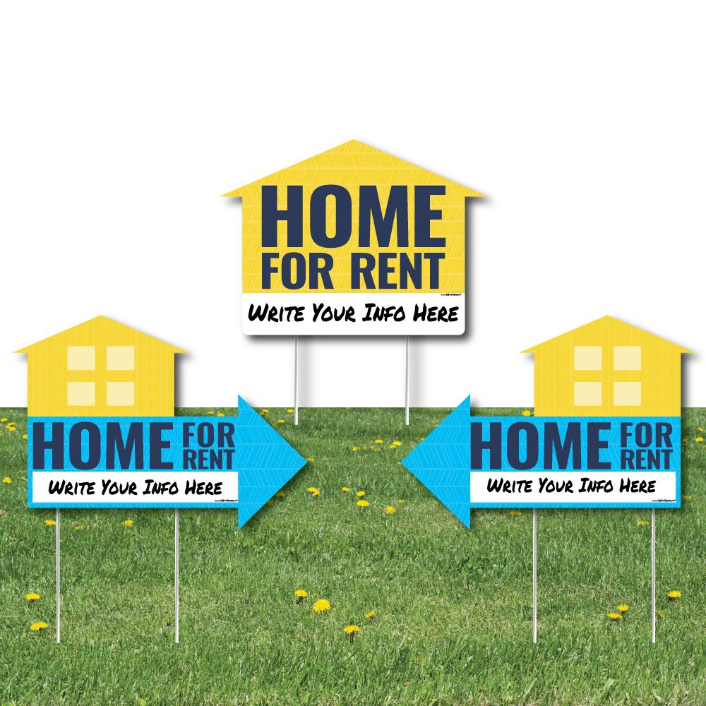 Home for Rent Signs - Yard Sign with Stakes - Double Sided Outdoor Lawn Sign - Set of 3