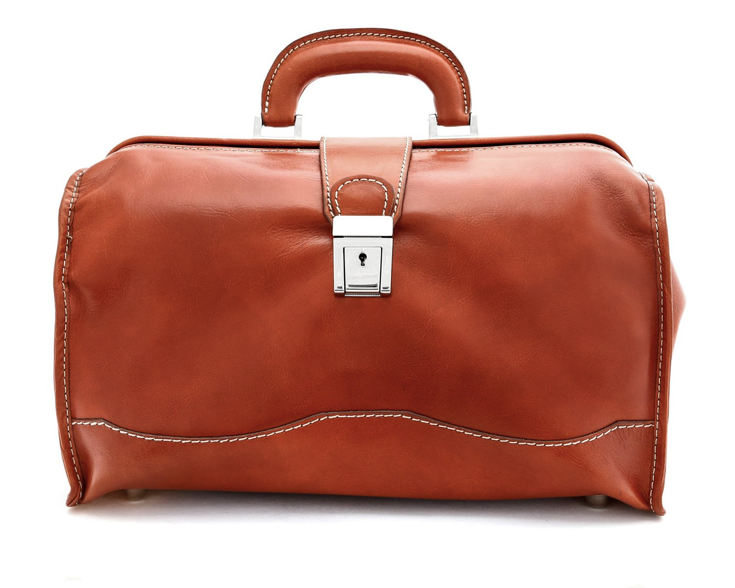 Luggage Depot USA, LLC Alberto Bellucci Italian Leather Classic Doctor Top Handle Hand Duffel Bag, Honey, One Size