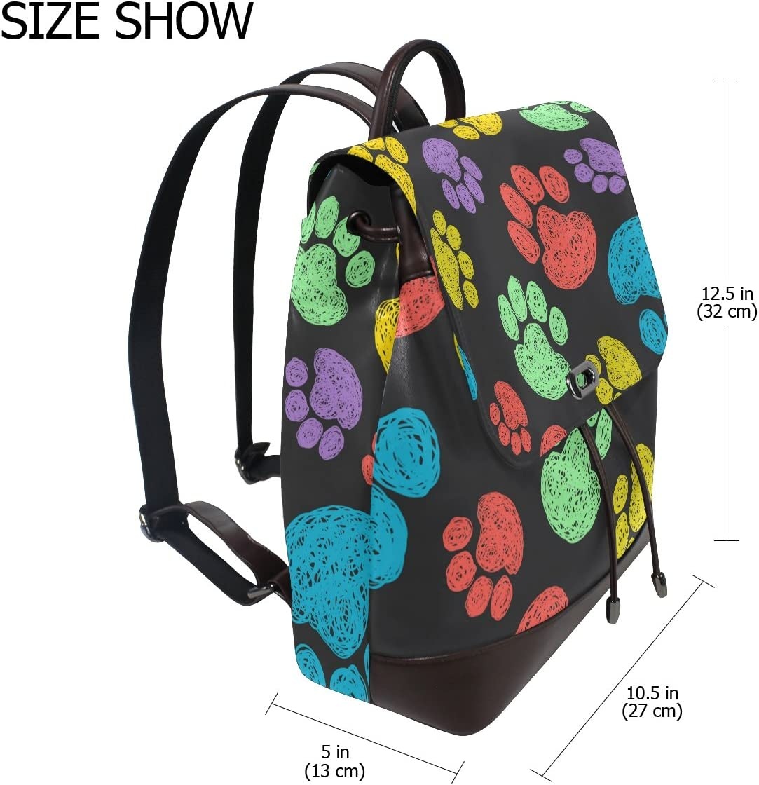 KUWT Animal Paws PU Leather Backpack Travel Shoulder Bag School College Book Bag Casual Daypacks Diaper Bag for Women and Girl