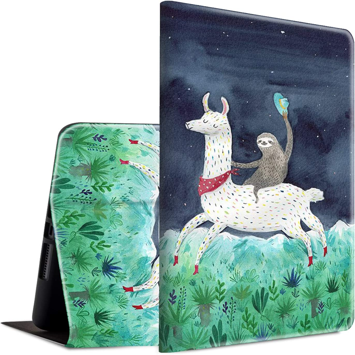 Case for New iPad 8th/7th Generation, iPad 10.2 2020/2019 Case, Spsun Lightweight PU Leather Cover Adjustable Stand with Auto Wake/Sleep Smart Protect Case - Sloth Riding Llama