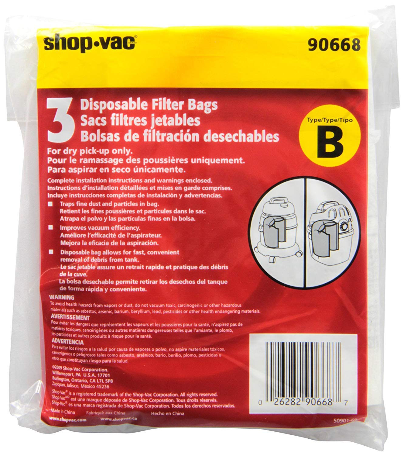 Shop-Vac 9066800 2-2.5 Gallon All Around Collection Bag 3-Pack