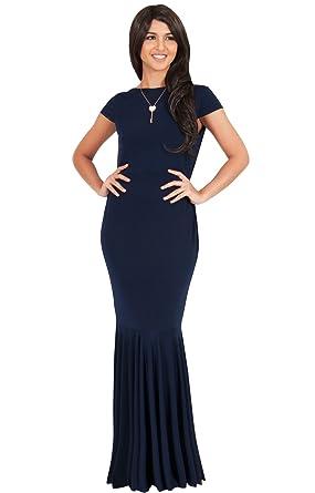 KOH KOH® Damen Petite Maxikleid Fischschwanz Nixe Cocktail Party Kleid  Schick, Farbe Marineblau,