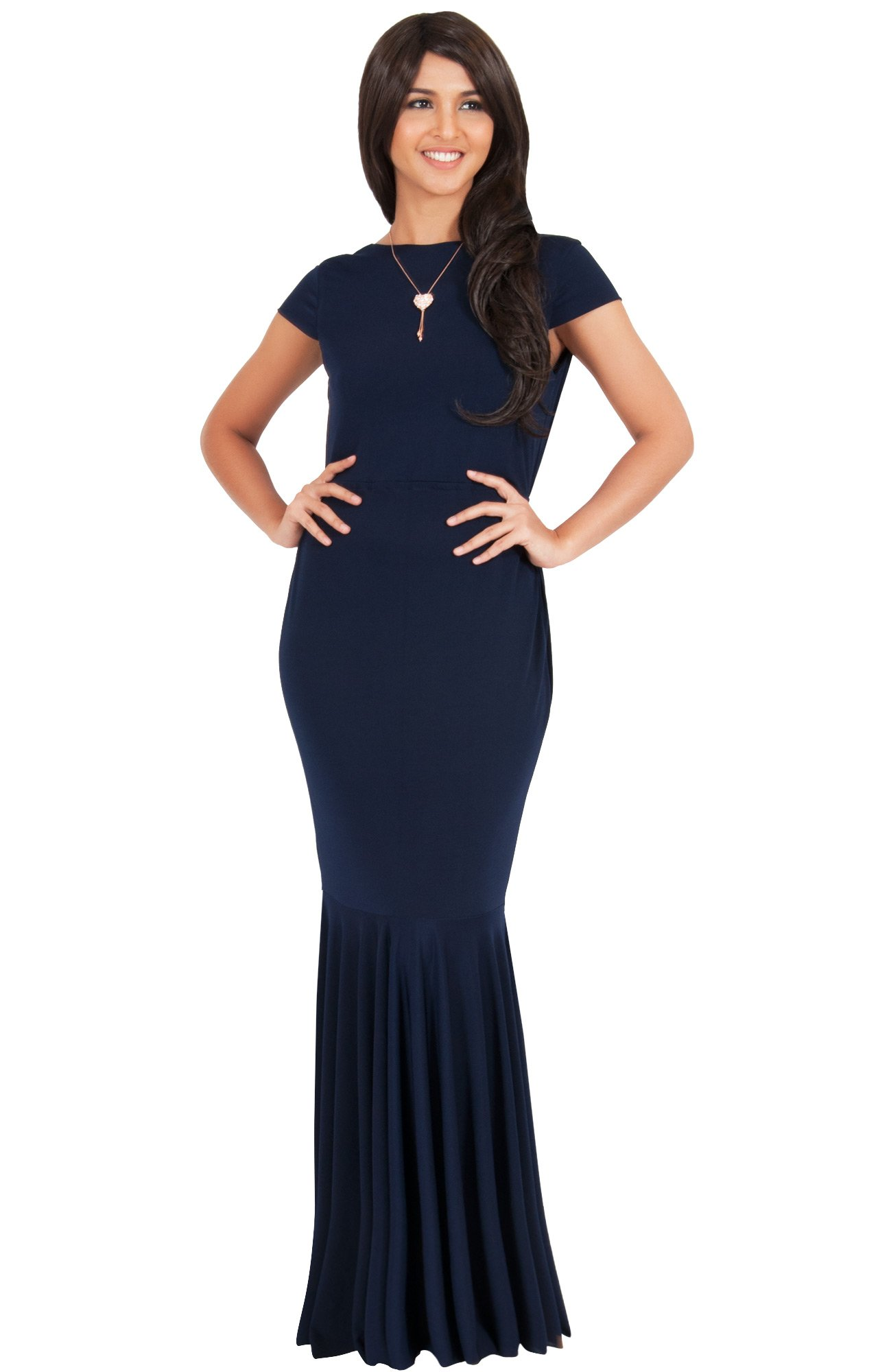 KOH KOH Womens Long Cap Short Sleeve Formal Sexy Evening Prom Cocktail Bridesmaids Wedding Party Guest Tube Flowy Cute Fishtail Gown Gowns Maxi Dress Dresses, Navy Blue M 8-10