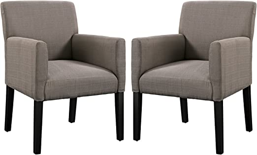 Modern Formal Living Room, Amazon Com Modway Chloe Upholstered Fabric Modern Farmhouse Dining Arm Accent Chair In Gray Set Of 2 Chairs