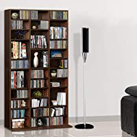 Artiss CD/DVD Rack Blu-ray Media Storage Bookcase Display Shelf Espresso