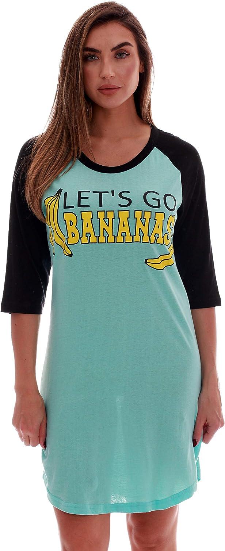Just Love 100/% Cotton Sleep Dress for Women Baseball Sleeve Nightshirt