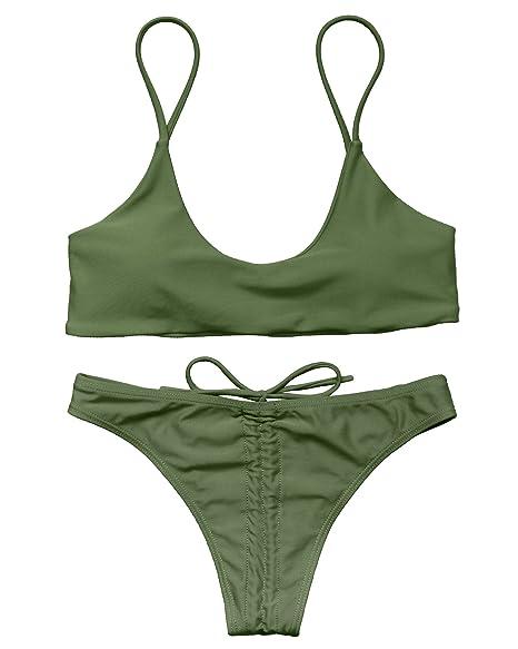 b3901cfd49d OMKAGI Women's Sexy Push-up Wrinkle Scrunch Brazilian Bikini Set Thong  Bow-Knot Swimsuits