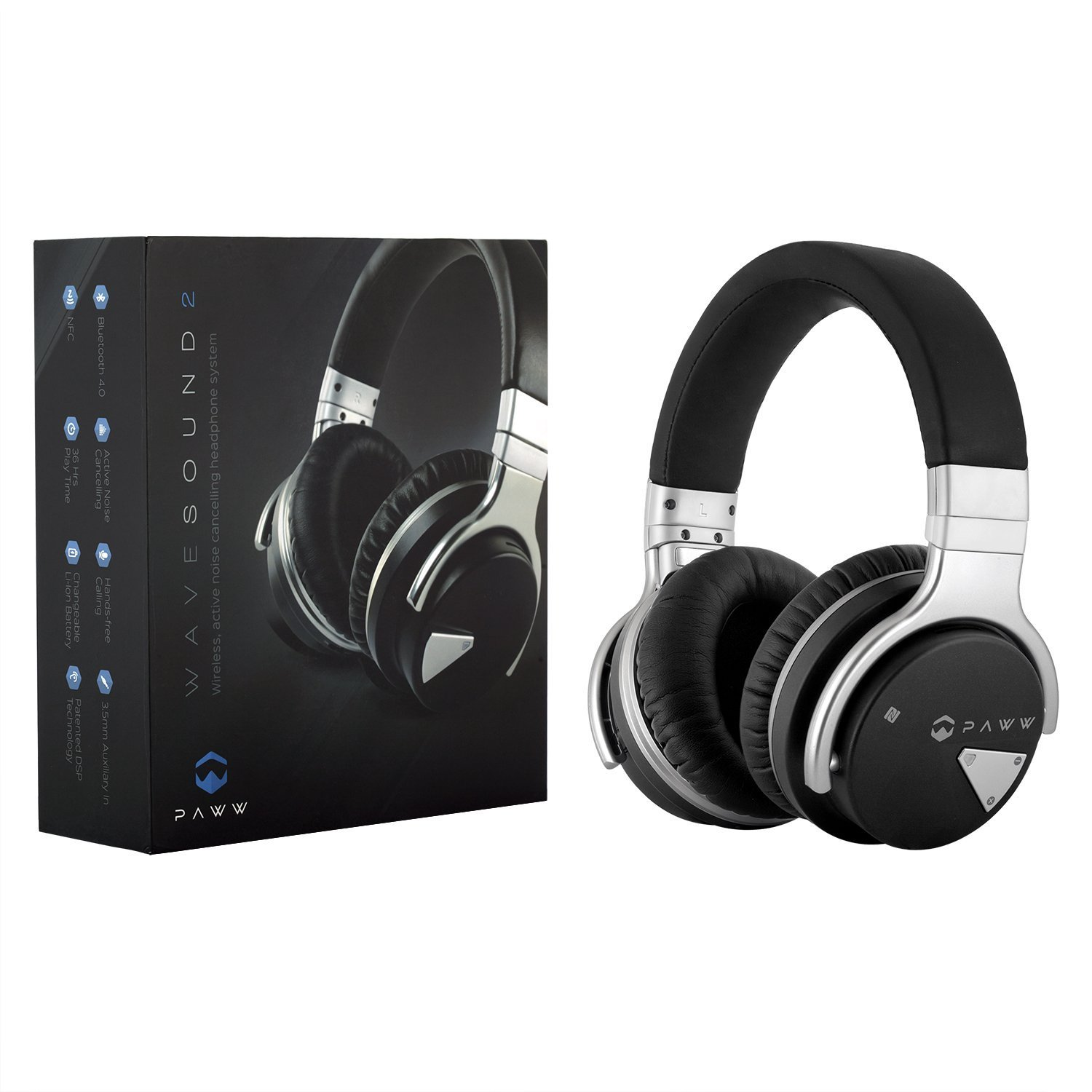 Paww Over Ear Headphones - Paww WaveSound 2 - Active Noise Cancelling Bluetooth Headphones with Custom Carry Case - Black
