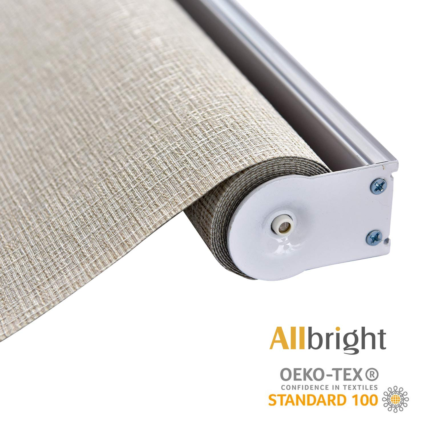 ALLBRIGHT Thermal Insulated Fabric 100% Blackout UV Protection Rialto Emboss Cordless Roller Shades for Windows, Easy to Install, Light Brown, 35''W x 72''H by ALLBRIGHT