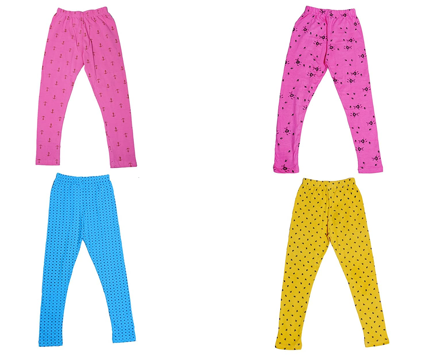Pack of 4 Indistar Girls Super Soft and Stylish Cotton Printed Legging Pants